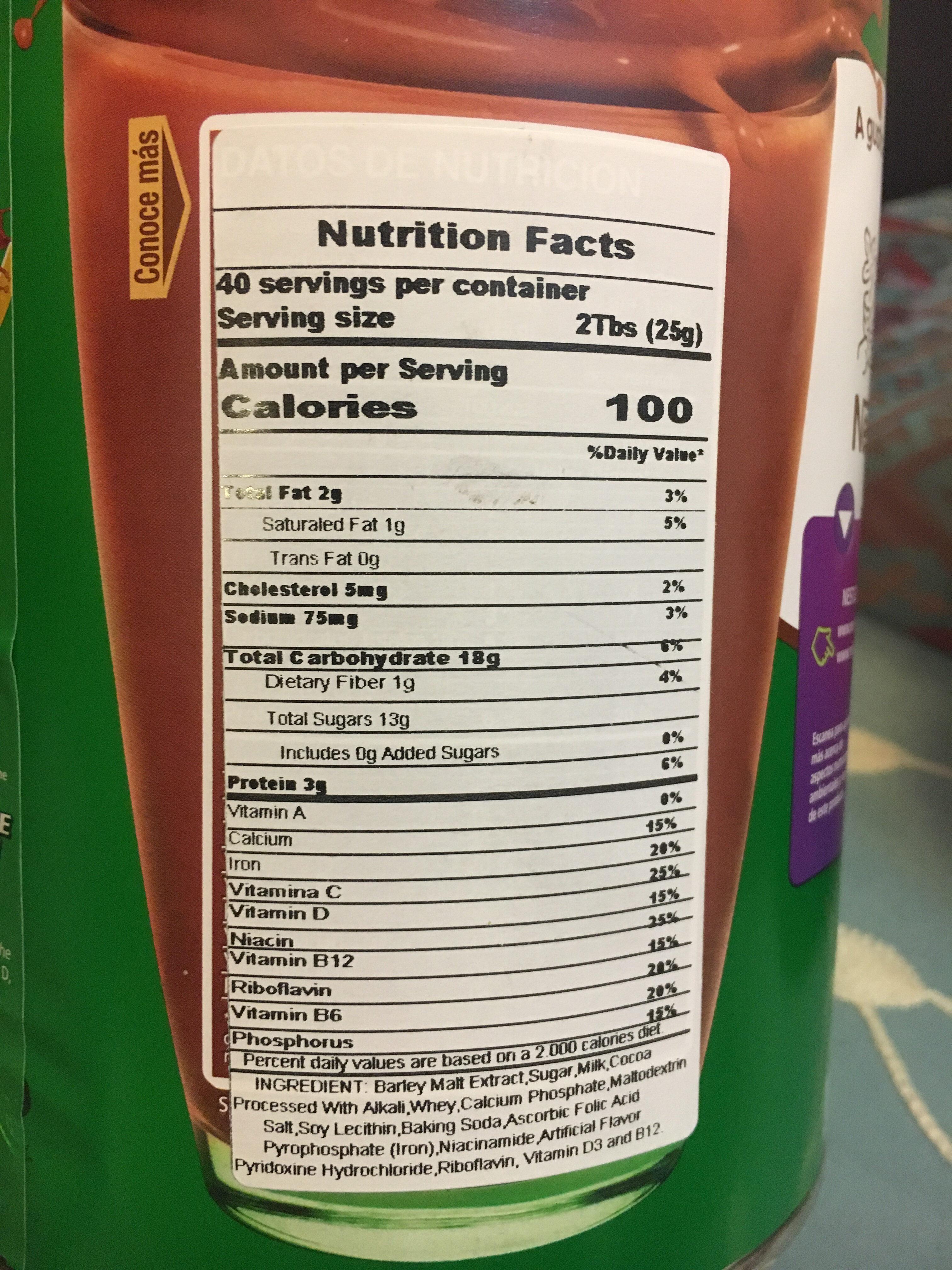 Milo - Nutrition facts