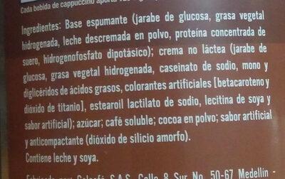 cappuccino colcafe - Ingrédients - es