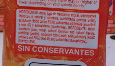 Jugo de Mandarina - Ingredients - en