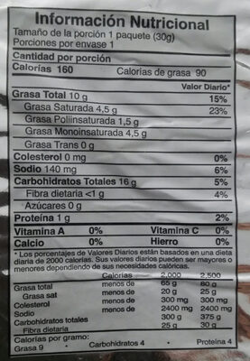 papas fritas sabor artificial a pollo - Nutrition facts