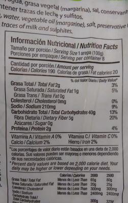 Arepa Antioqueña Con Sal - Informations nutritionnelles - es