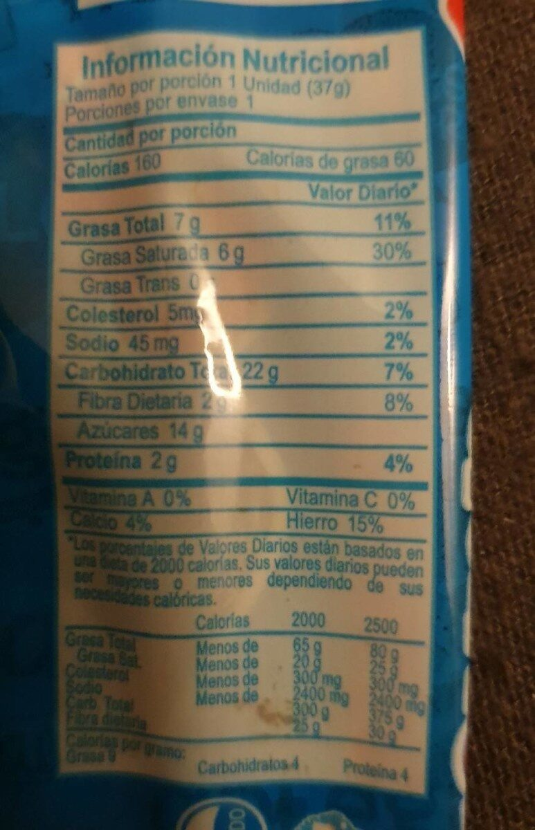 Gansito - Nutrition facts
