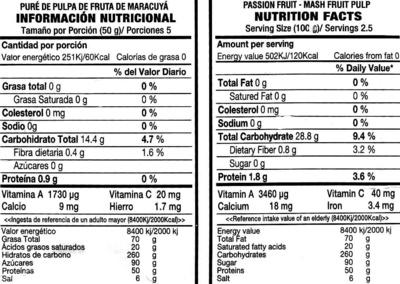 Pulpa de maracuyá - Informations nutritionnelles - es