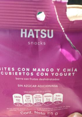 Hatsu bites con mango y chia cubiertos con yogur - Produit