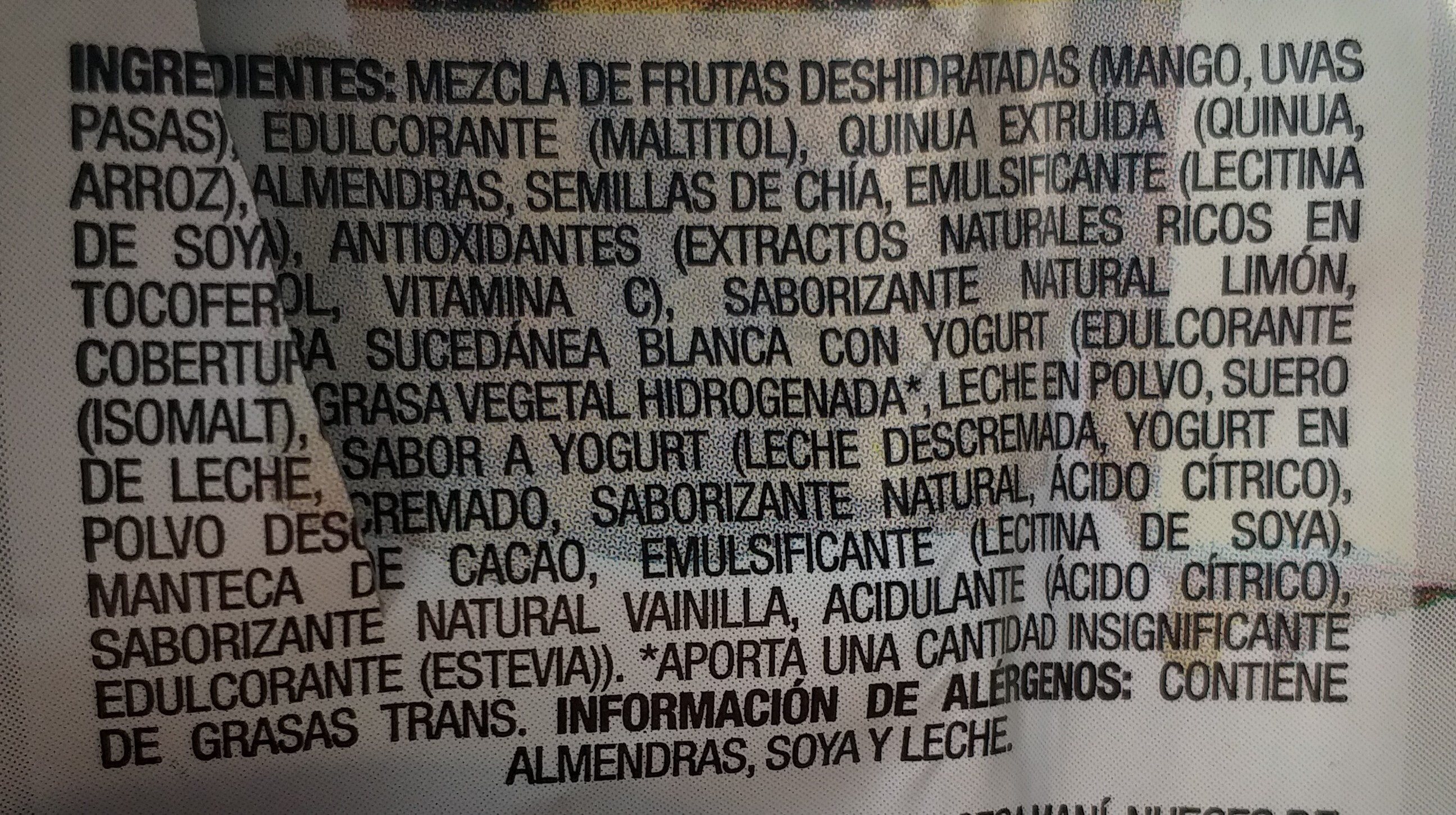 Hatsu bites con mango y chia cubiertos con yogur - Ingrédients