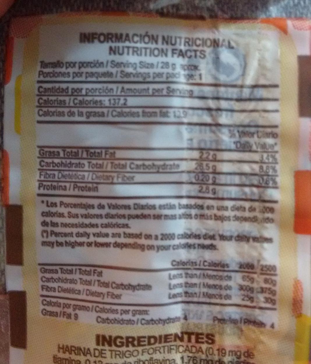 Chelitas - Informations nutritionnelles - en