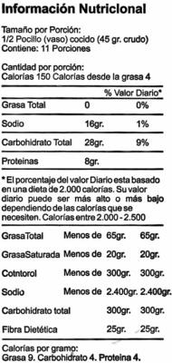 Guisantes secos verdes partidos - Información nutricional