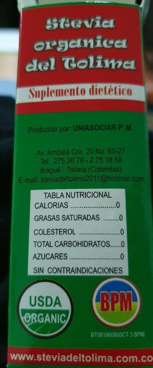 Stevia orgánica - Nutrition facts