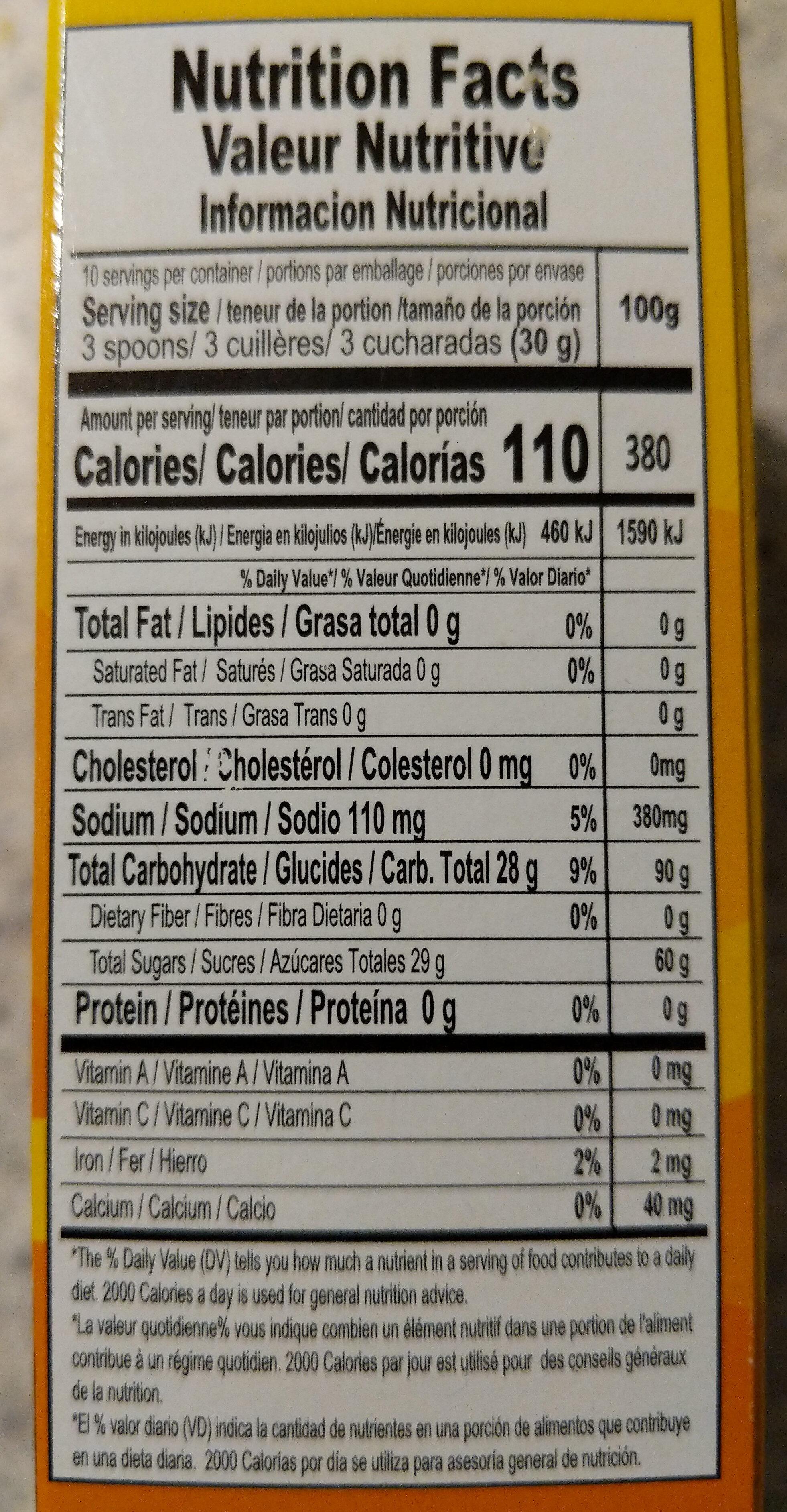 Cornstarch Custard Natilla Coconut - Informations nutritionnelles - en