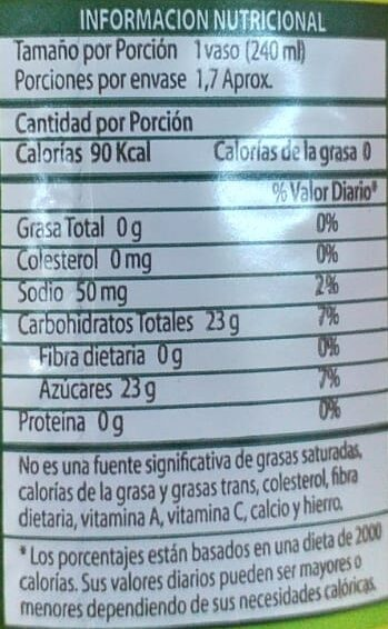 Té limon - Informations nutritionnelles