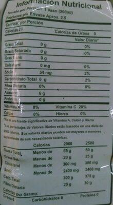 Bebida de Aloe Vera Light - Nutrition facts