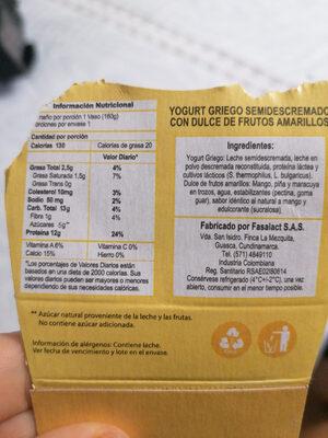 yogurt griego - Nutrition facts - es