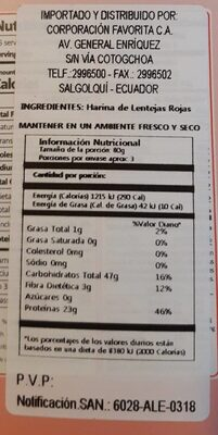 Lentejas rojas - Nutrition facts