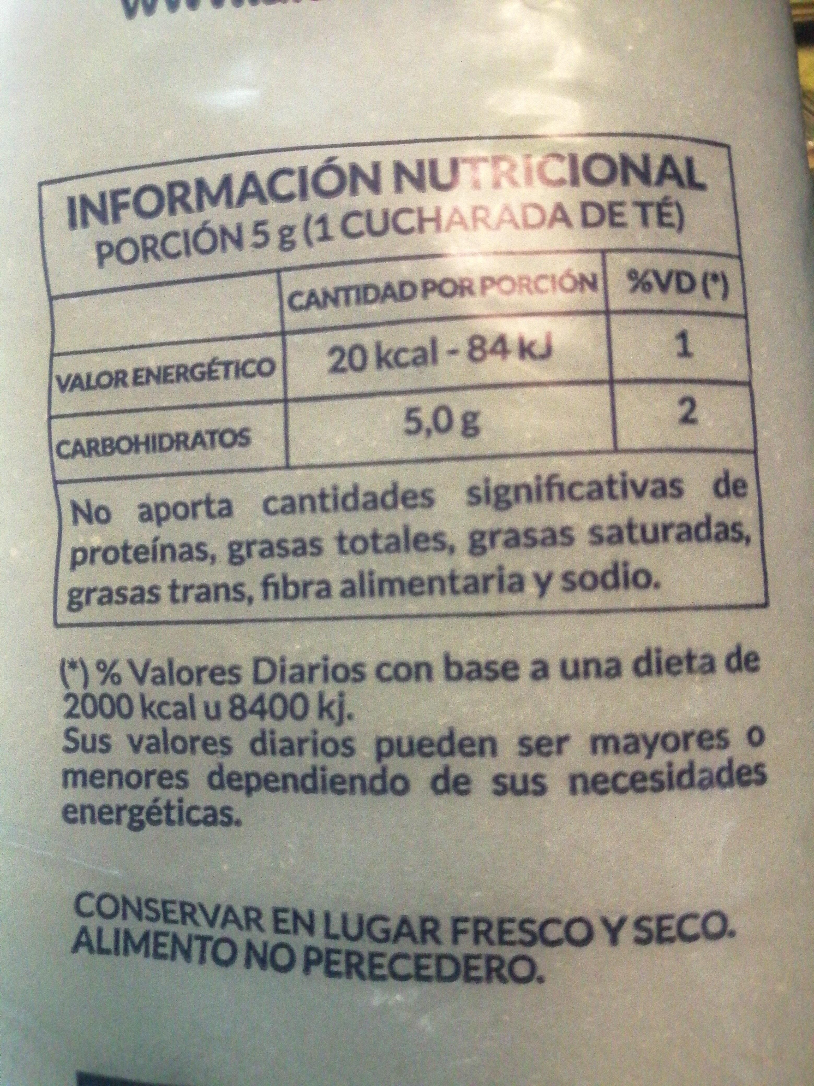 azúcar blanco refinado - Nutrition facts - es