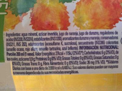 Salus Durazno-Naranja - Ingredients - en