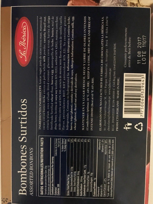 Bombones Surtidos Caja X 300GR - Informations nutritionnelles - en