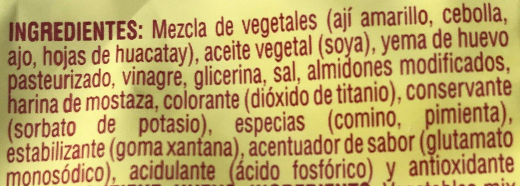 Crema de aji - Ingredients - es