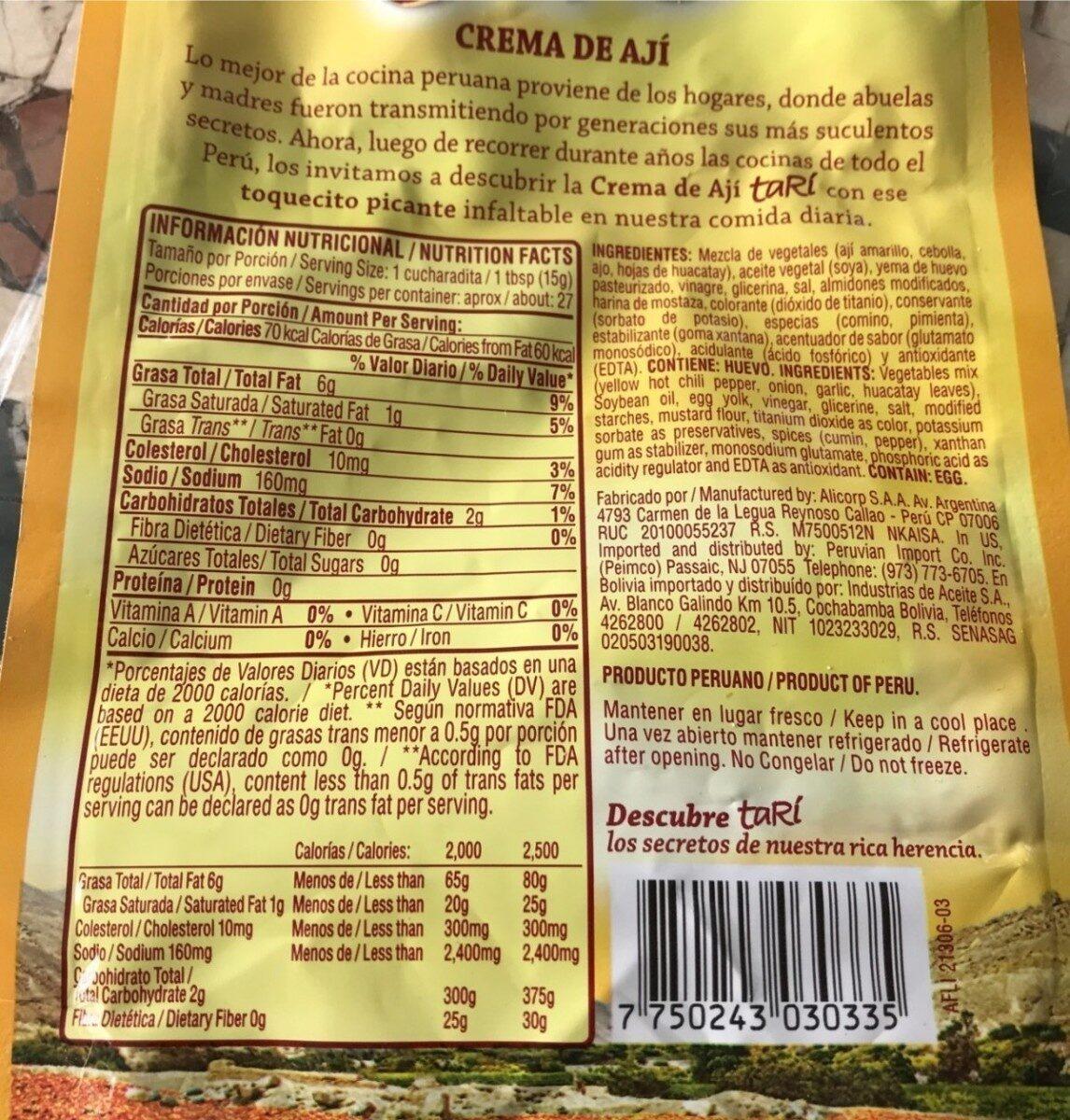 Crema de aji - Nutrition facts - es