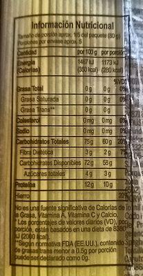 Spaguetti 5 - Informations nutritionnelles - es