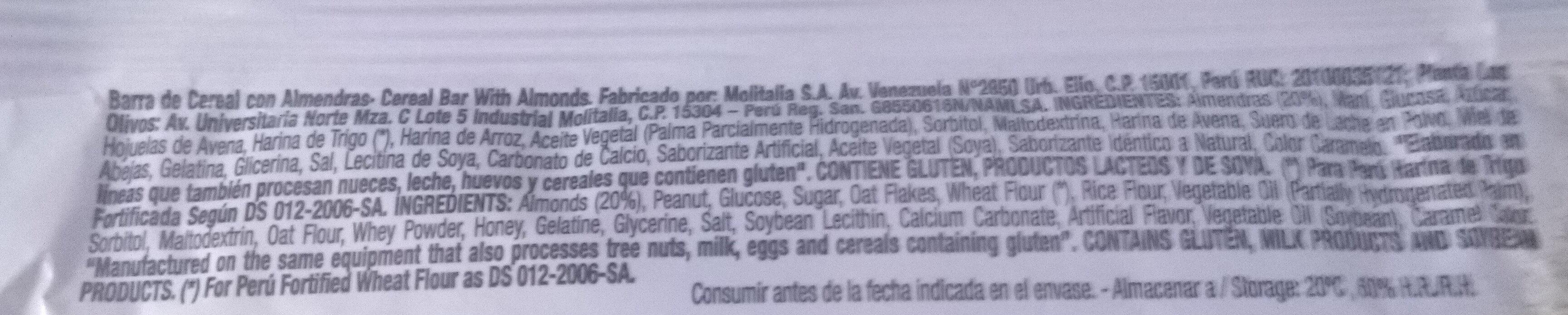 Cereal Bar Nuts Almendras - Ingredients - es