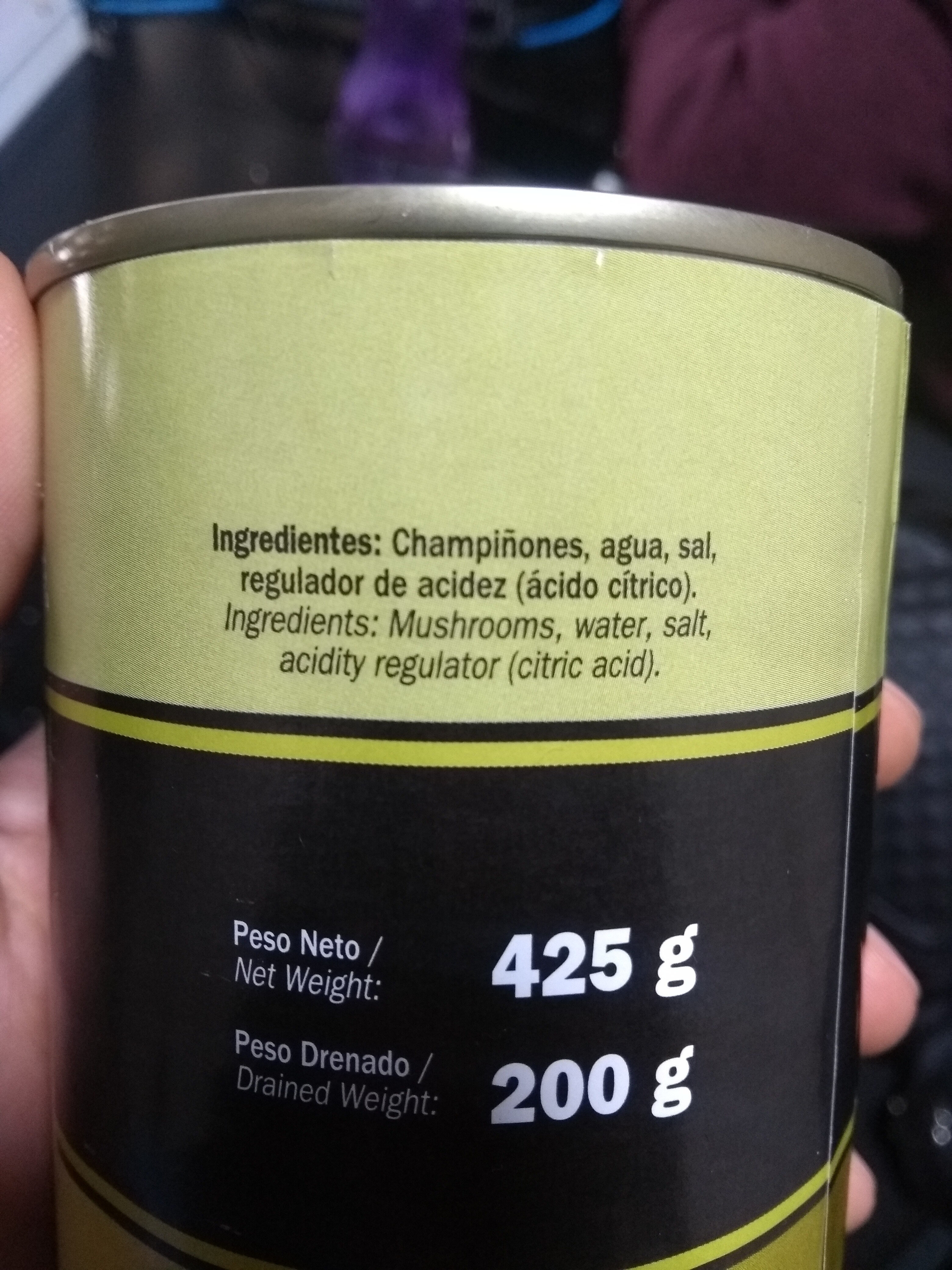 Champiñones en rebanadas en agua y sal - Ingredients - es