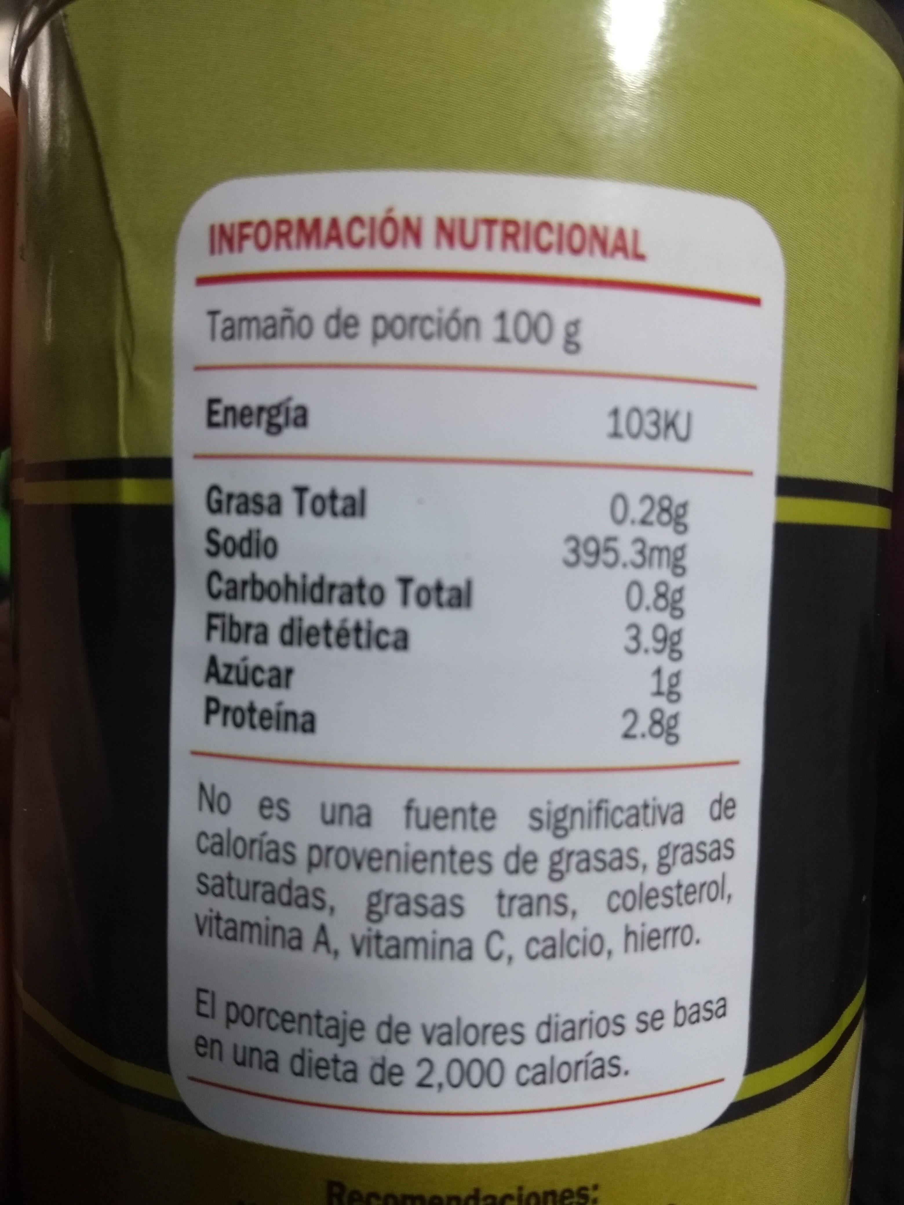 Champiñones en rebanadas en agua y sal - Nutrition facts - es