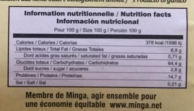 Quinoa Pérou - Nutrition facts - fr