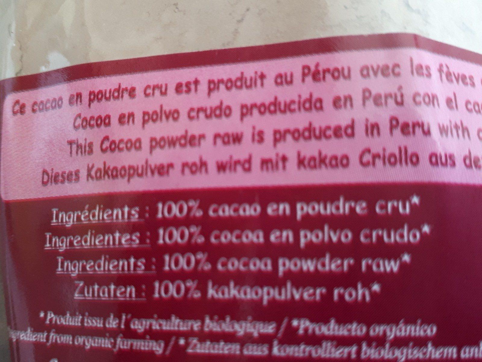 Cacao Cru En Poudre - Ingrediënten - fr
