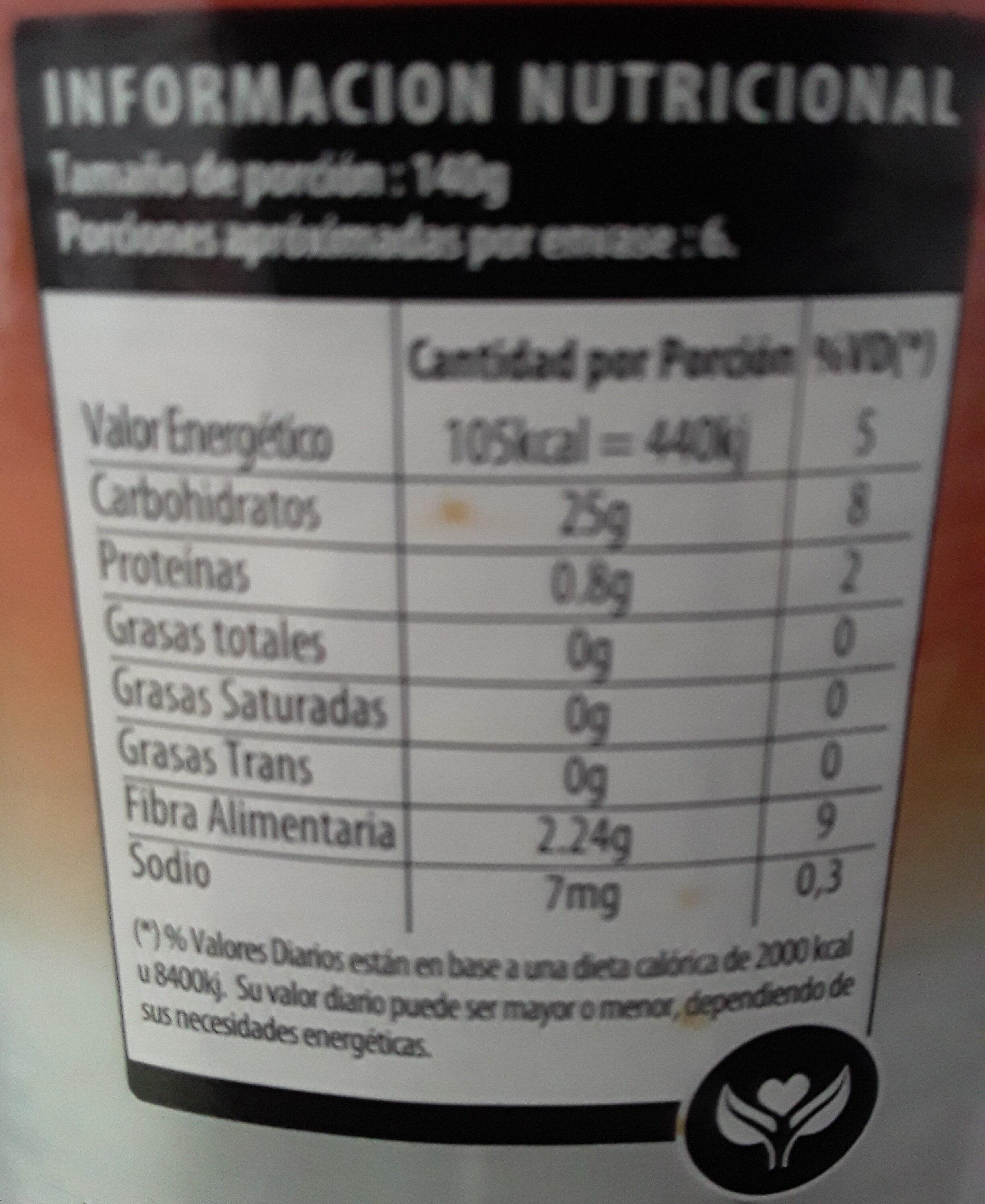 Duraznos Mitades - Informations nutritionnelles - es