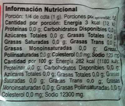 Aji-no-moto - Informations nutritionnelles - es