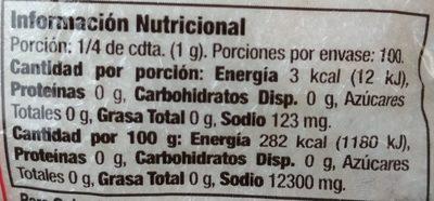 Glutamato monosódico - Información nutricional