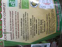Panela sucre de canne complet bio - Ingredienti - fr