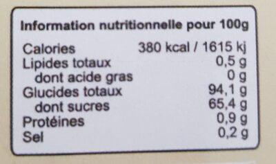 Panela - Informations nutritionnelles - fr