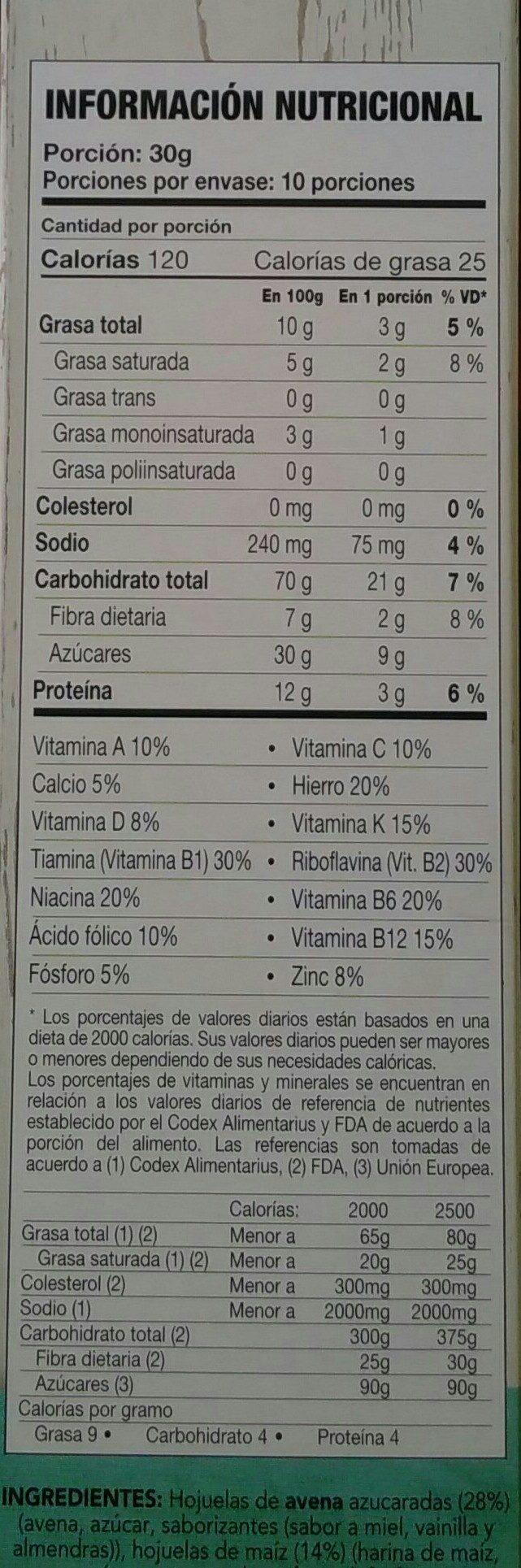 life granola - Informations nutritionnelles - en