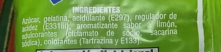 Gelatina Sabor a Limón - Ingrédients - es