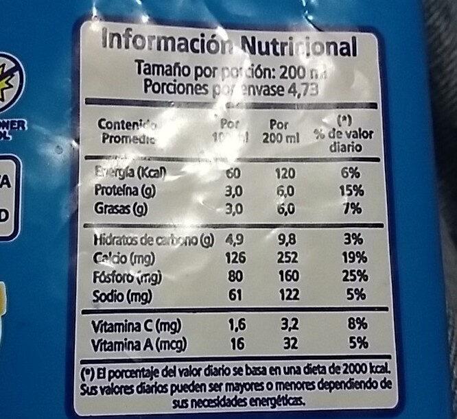 Leche Entera Larga Vida - Informations nutritionnelles - es