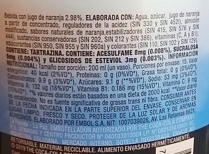 Del Valle Fresh Citrus - Ingrédients - es
