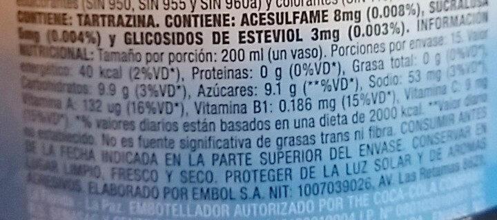 Del Valle Fresh Citrus - Informations nutritionnelles - es