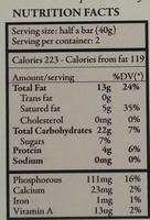 El ceibo, fine dark chocolate - Nutrition facts