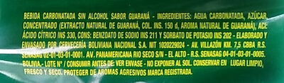 Guaraná Antárctica - Ingredients - es