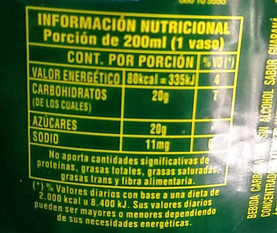 Guaraná Antárctica - Nutrition facts - es