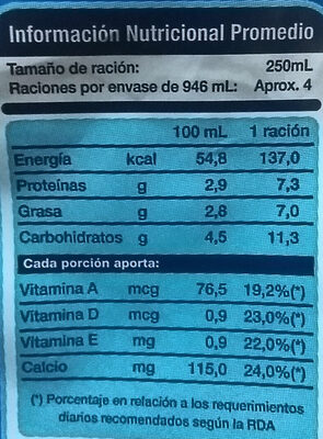 Leche Natural Larga Vida - Nutrition facts