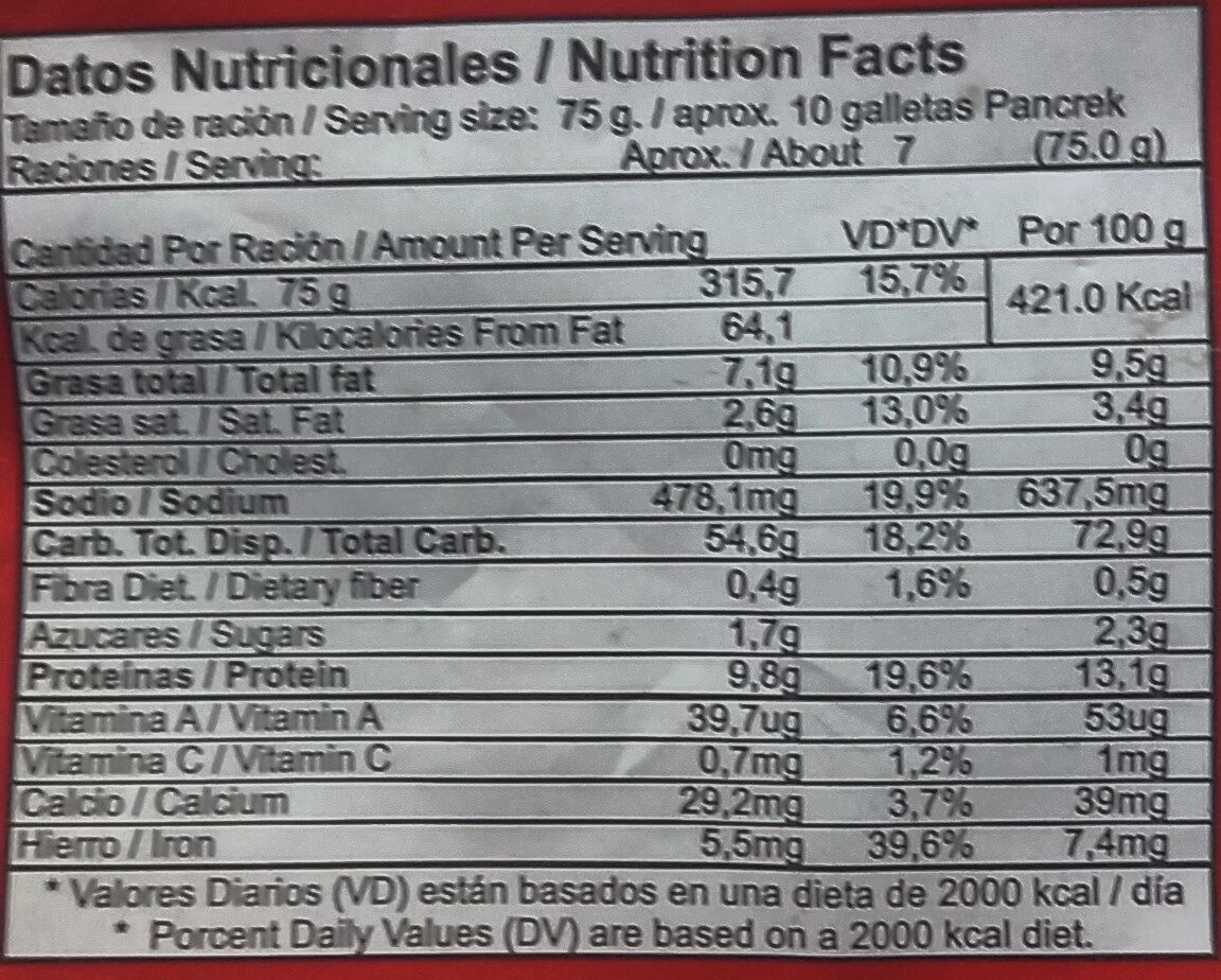 Galletas de agua PANCREK - Nutrition facts - es