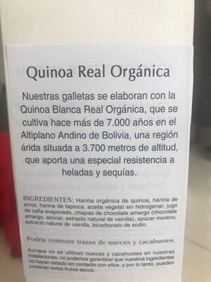 Galletas de quinoa con chispas de chocolate - Ingredients - es