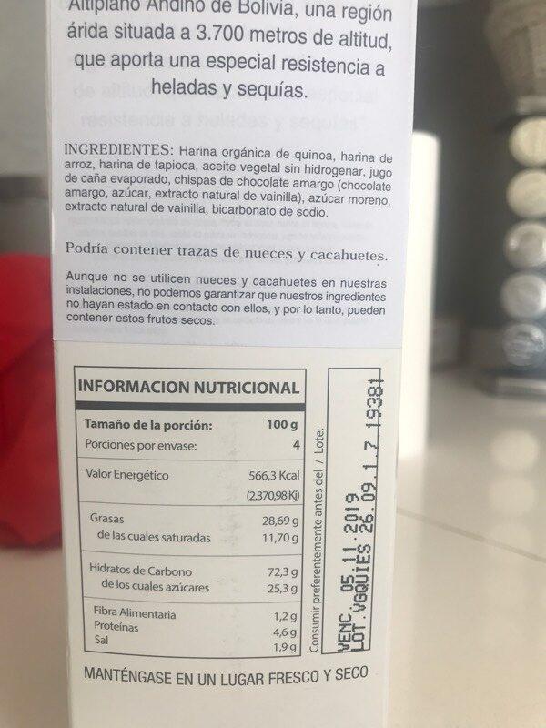 Galletas de quinoa con chispas de chocolate - Informació nutricional - es