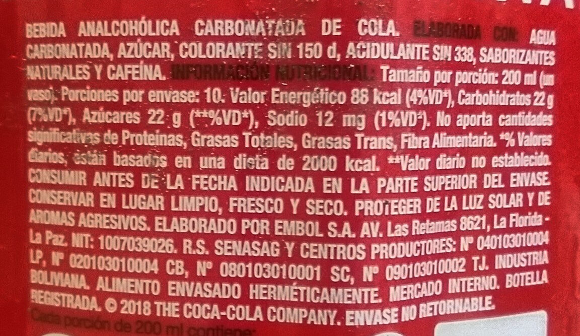 Coca Cola - Ingredients - es
