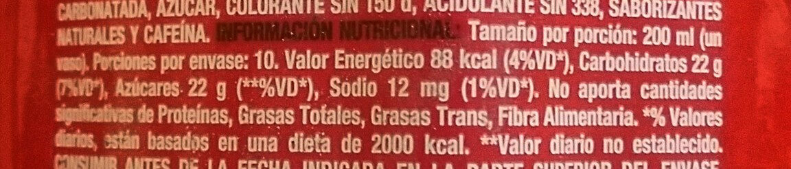 Coca Cola - Nutrition facts - es