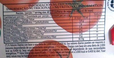 De la Huerta: puré de tomates - Valori nutrizionali - es