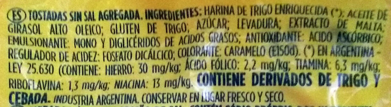 Tostadas sin sal - Ingredients - es