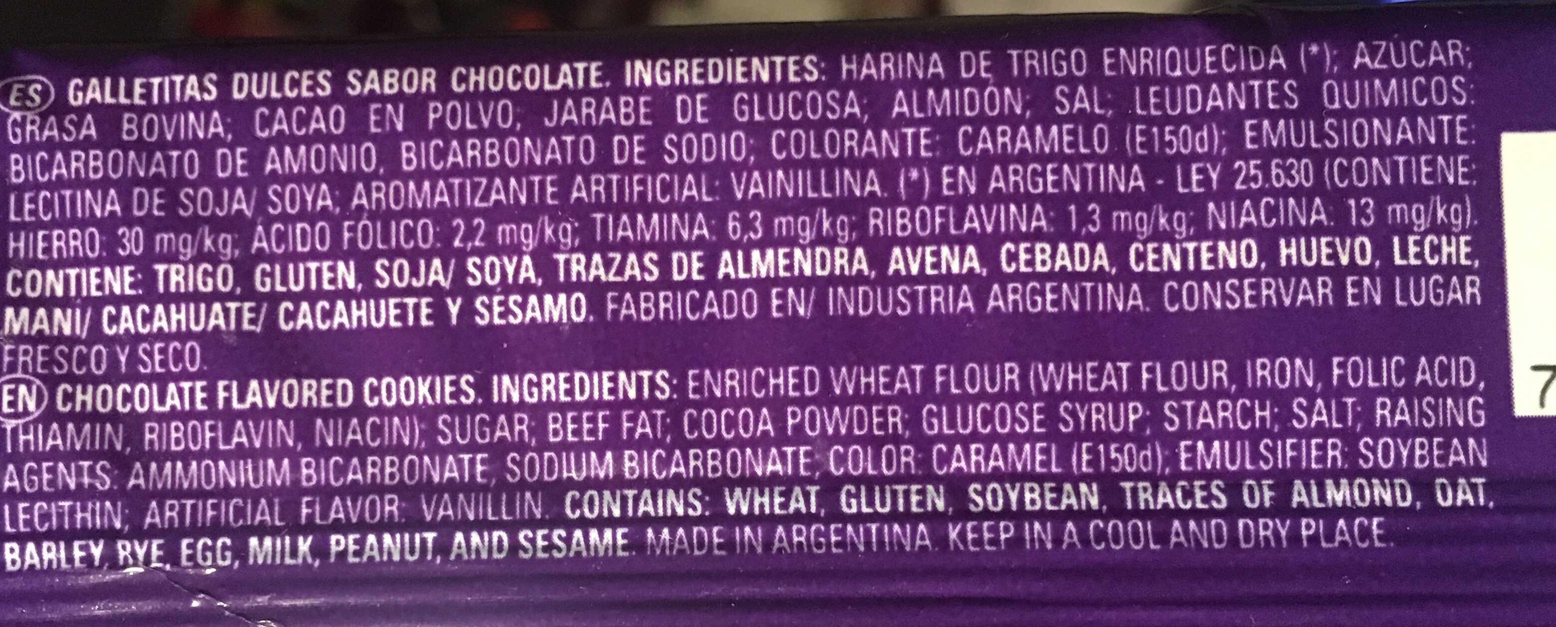 Chocolinas - Ingredients